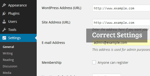correct- wordpress url-settings